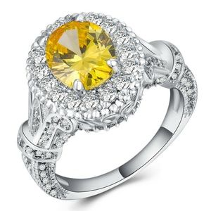 Gorgeous 925 Silver Oval Cut Citrine Ring New